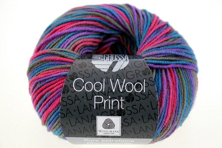 722 hellgrün//hellblau//gelb. Cool Wool print 50 g Wolle Kreativ Lana Grossa